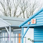 Blue beach hut called 'the West Wing' on Whitstable's west beach