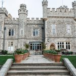 The front steps of the historic Whitstable Castle wedding venue