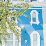 Bright blue and white terraced home in Notting Hill