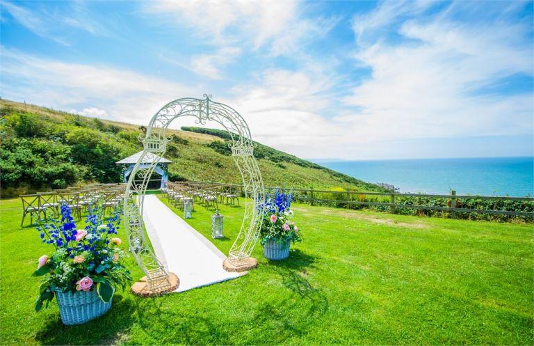 Outdoor wedding venue by the sea in UK