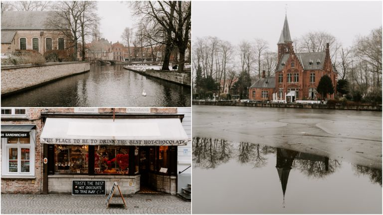Frozen over lake in Bruges