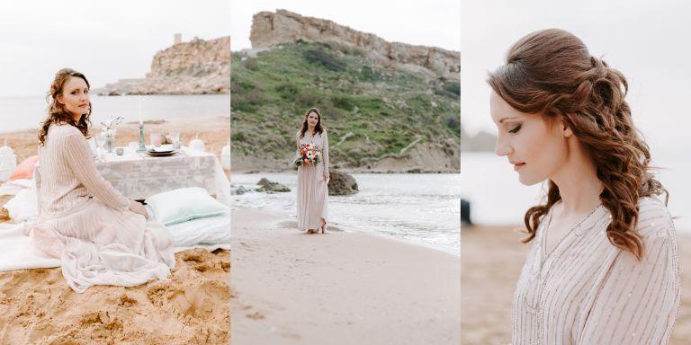 Bride wearing a vintage wedding dress on Għajn Tuffieħa beach