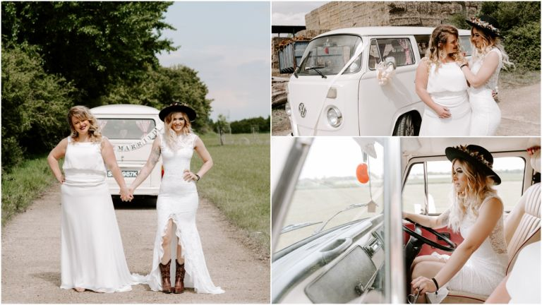 Brides in front of a white VW Campervan