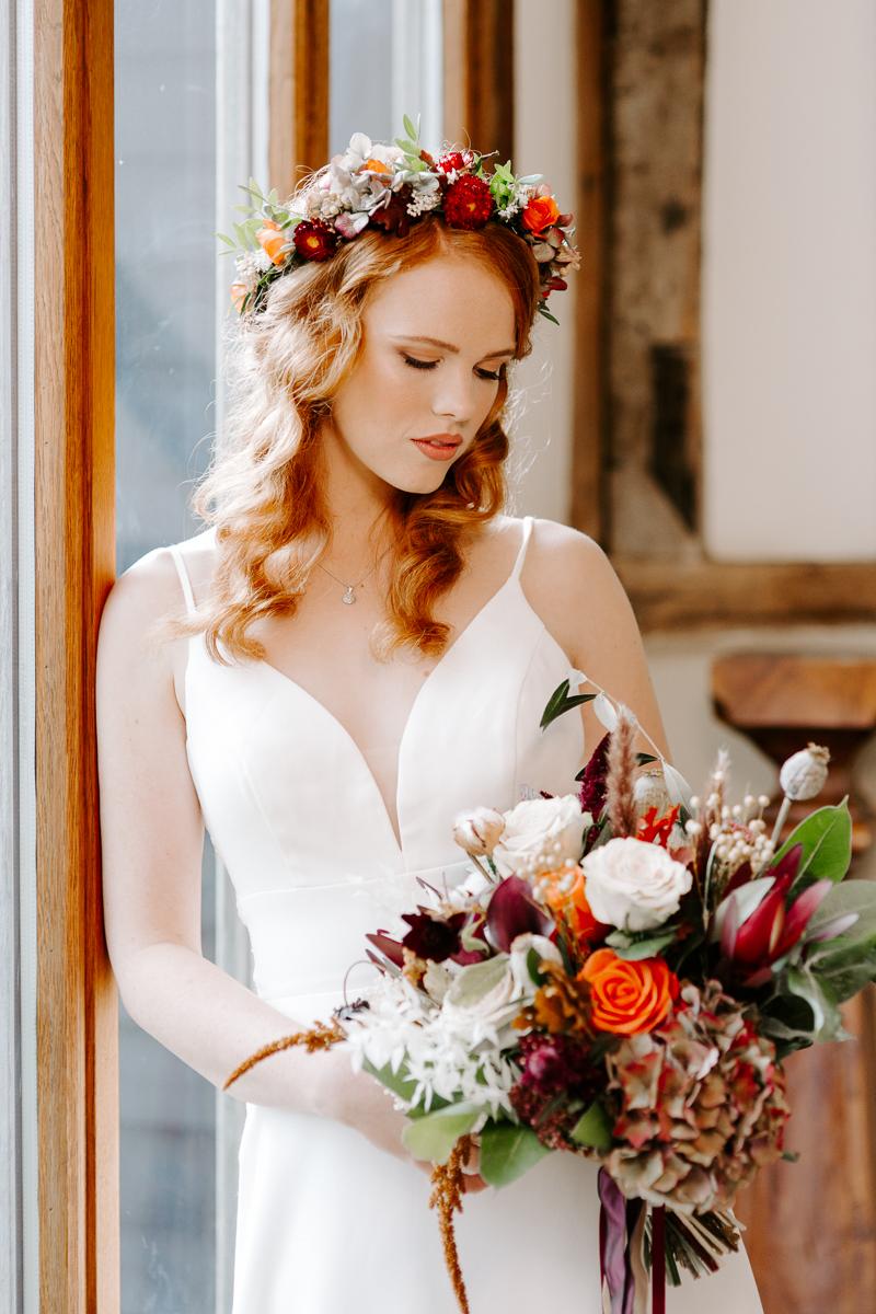 Auburn bride with autumnal floral crown