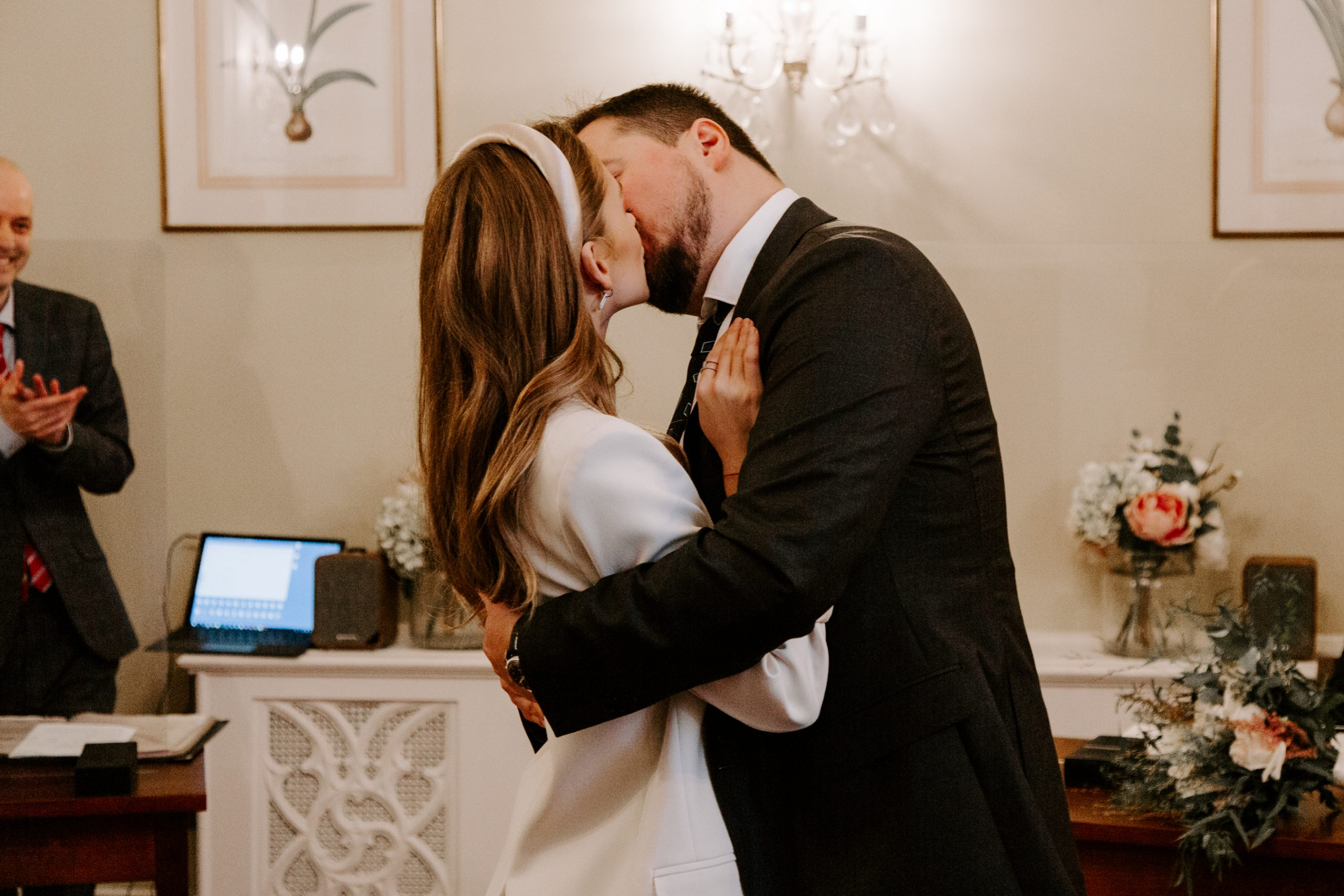 First kiss at Chelsea Town Hall