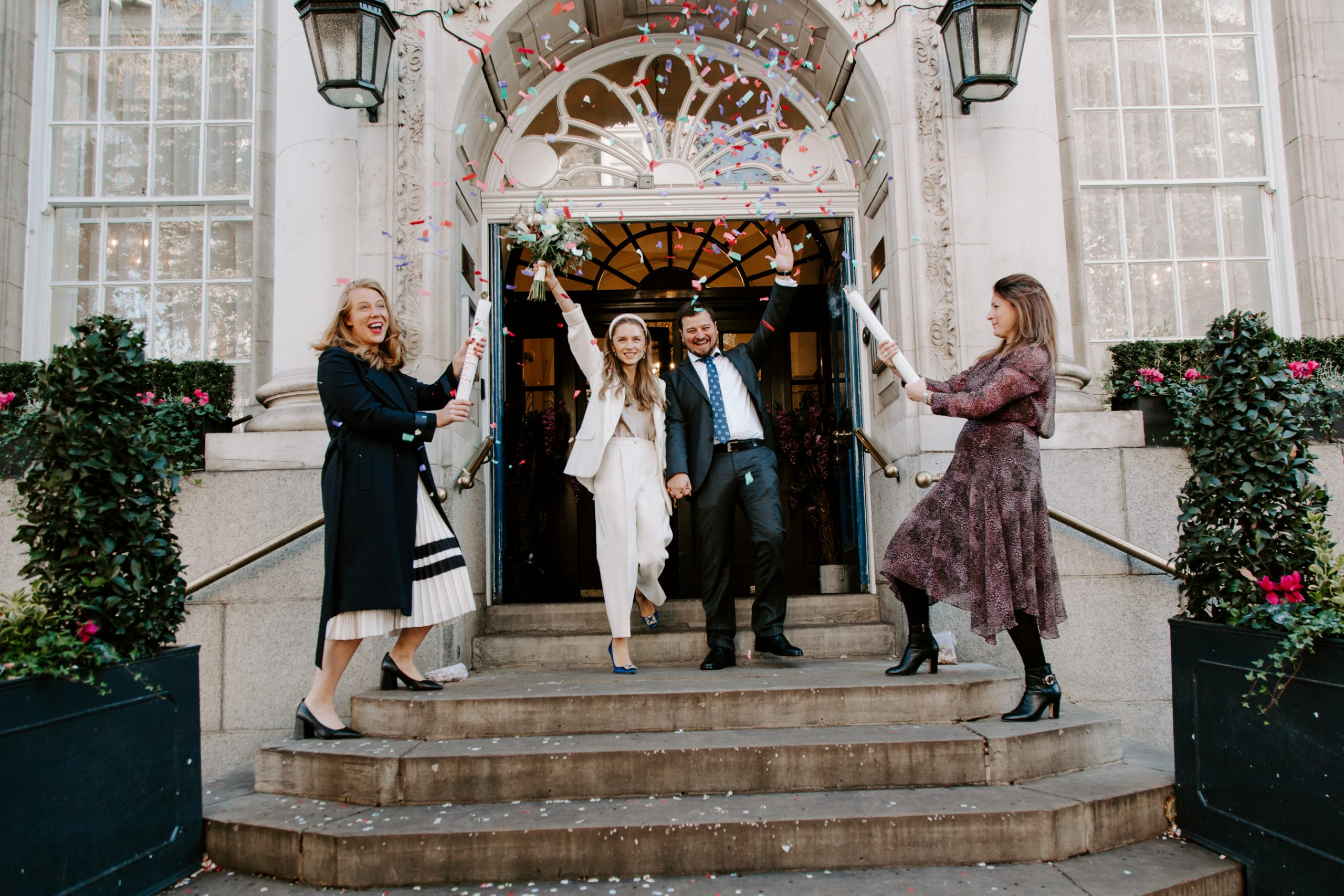 Confetti photo at Chelsea Town Hall wedding