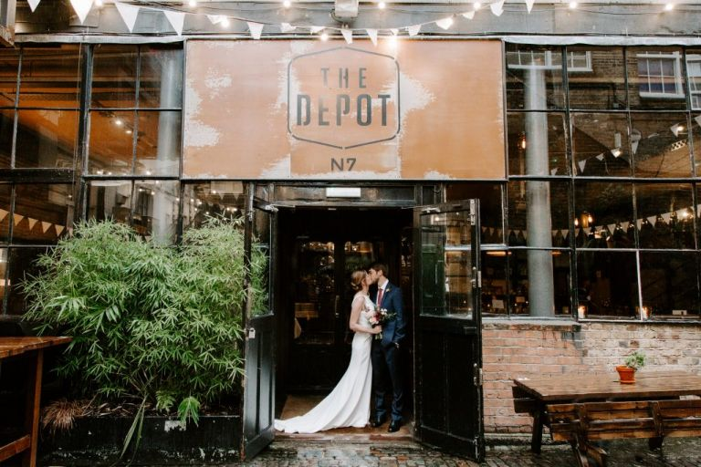 Bride and groom at their Depot wedding
