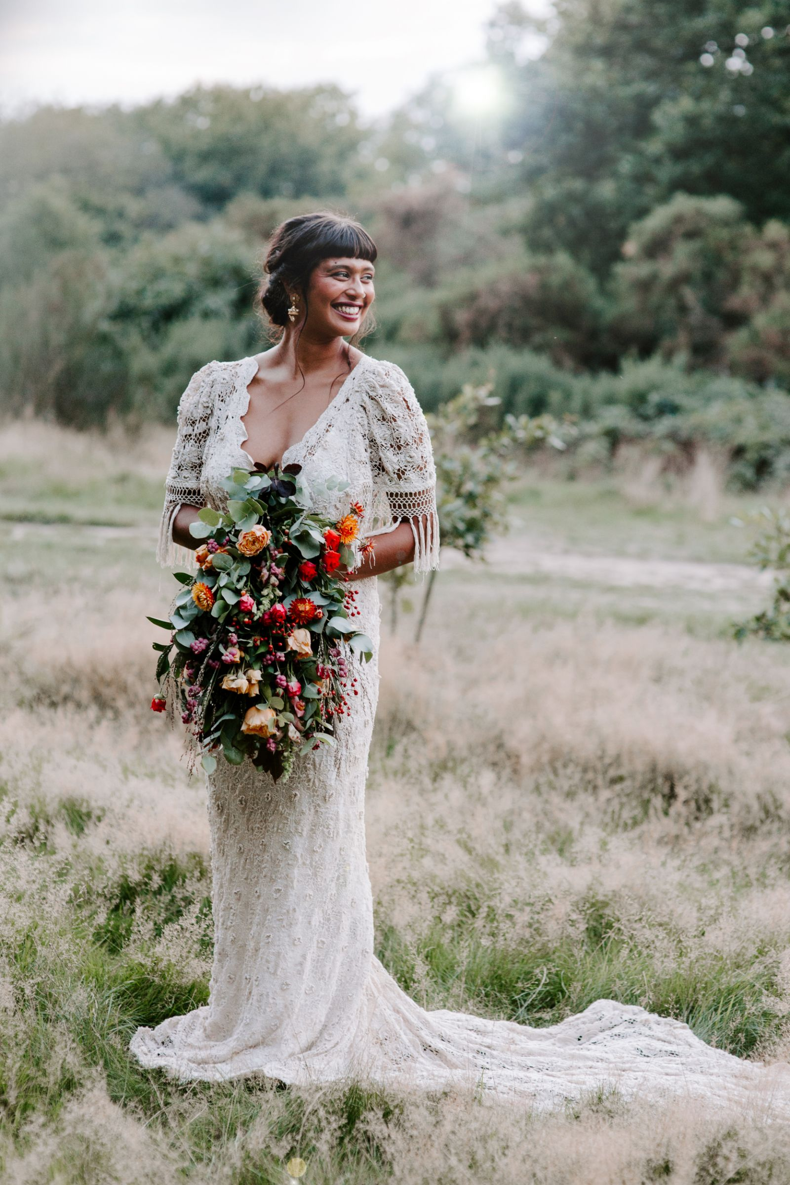 Bride in Poppy Perspective dress in Epping Forest