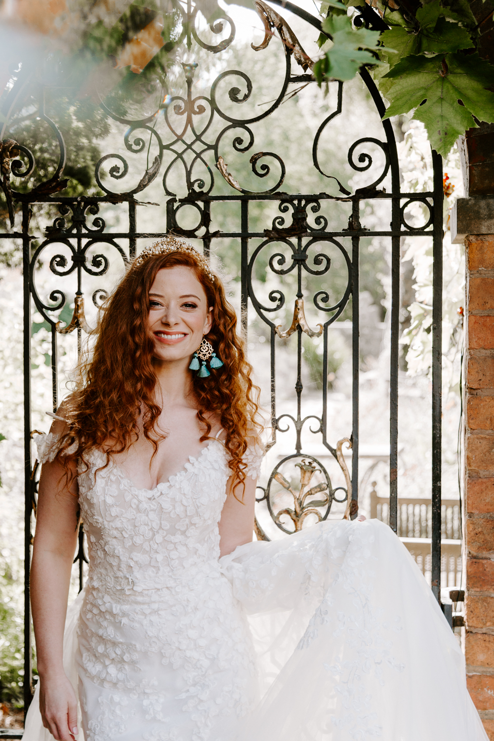 Red haired bride at Walcot Hall wedding venue