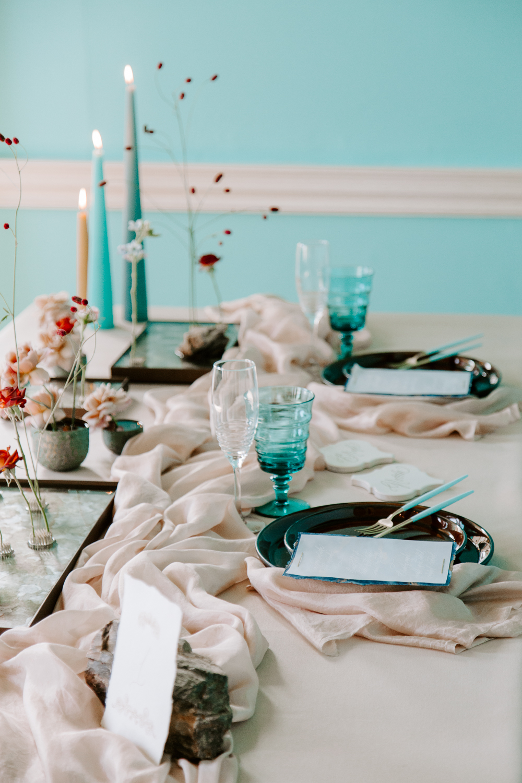 Modern wedding breakfast styling at Walcot Hall