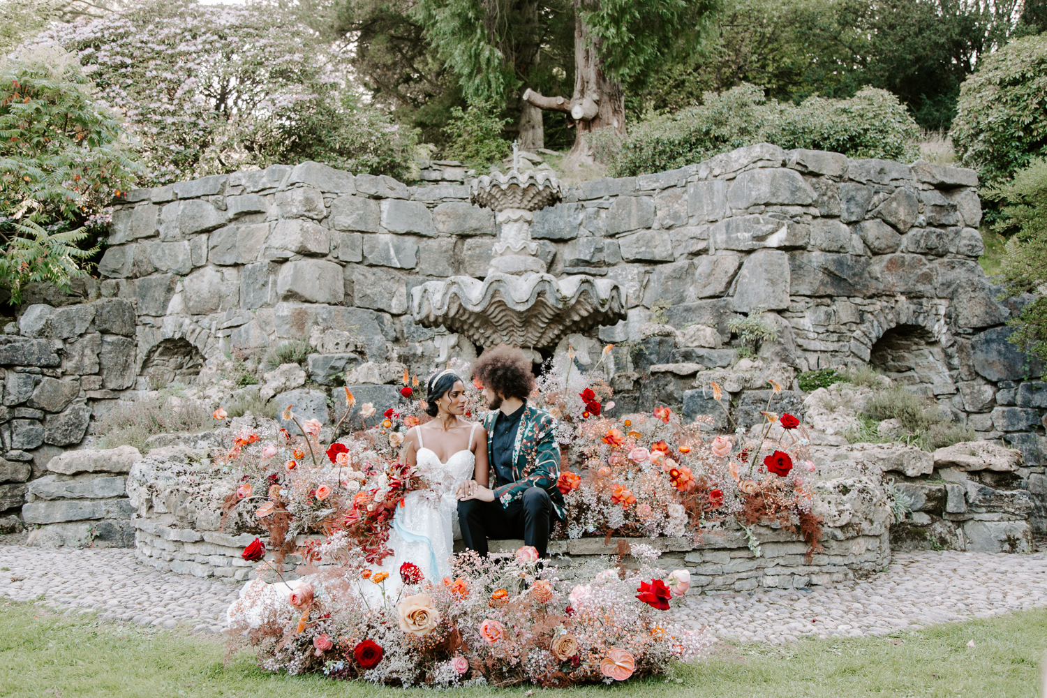Large floral installation at Walcot Hall wedding venue