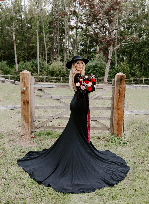 Surrey bride wearing a black wedding dress