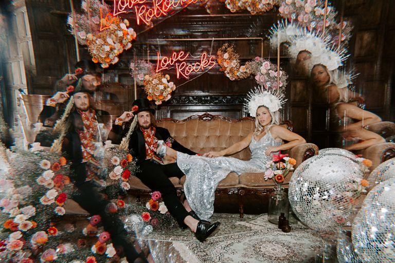 Glam rock ceremony at Marden Park Mansion wedding venue