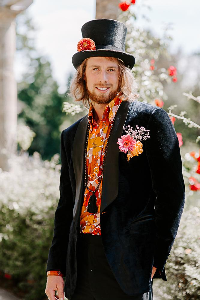 Glam rock groom style