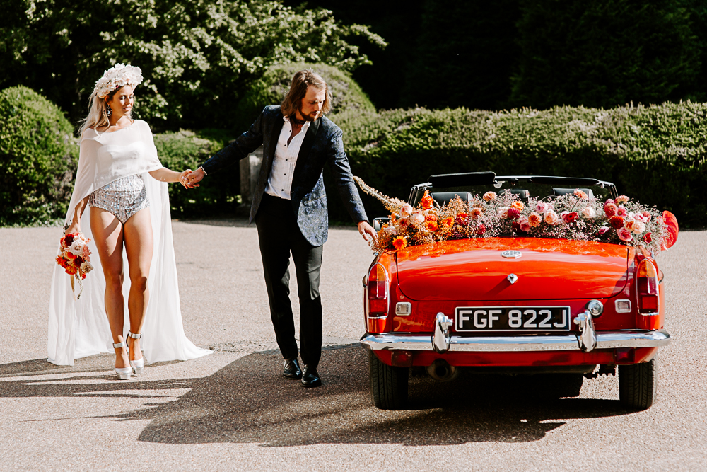 Stylish bride and groom at Woldingham School